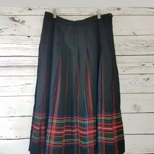 Pendleton A Line Skirt Black Red Plaid 16